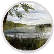 Quiet Day By Lake Round Beach Towel