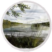 Round Beach Towel featuring the painting Quiet Day By Lake by Ivana Westin