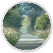 The Road Back Home Round Beach Towel
