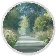 Round Beach Towel featuring the pastel The Road Back Home by Ivana Westin