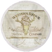 Round Beach Towel featuring the painting Western Range 3 Old West Deer Skull Wooden Sign Trading Company by Audrey Jeanne Roberts