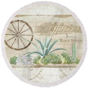 Round Beach Towel featuring the painting Western Range 4 Old West Desert Cactus Farm Ranch  Wooden Sign Hardware by Audrey Jeanne Roberts