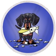 Dapple Doxie Destroyer Round Beach Towel