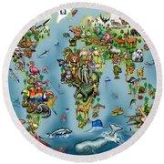 Animals World Map Round Beach Towel