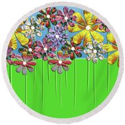 Flower Power Round Beach Towel