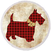 Round Beach Towel featuring the mixed media Scottie Dog Plaid by Christina Rollo