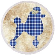 Round Beach Towel featuring the mixed media French Poodle Plaid by Christina Rollo