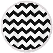 Round Beach Towel featuring the mixed media Black White Geometric Pattern by Christina Rollo