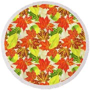 Round Beach Towel featuring the mixed media Fall Leaves Pattern by Christina Rollo