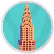 Chrysler Building - Cyan Round Beach Towel
