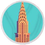 Chrysler Building - Cyan Round Beach Towel
