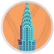 Chrysler Building - Orange Round Beach Towel