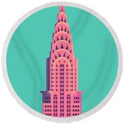 Chrysler Building - Green Round Beach Towel
