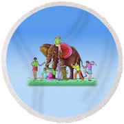 The Blind And The Elephant Round Beach Towel