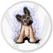 Curious Shepherd Puppy Round Beach Towel