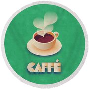 Coffee Retro - Green Round Beach Towel