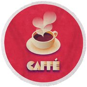 Coffee Retro - Red Round Beach Towel