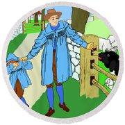 Round Beach Towel featuring the painting Baa, Baa, Black Sheep Nursery Rhyme by Marian Cates