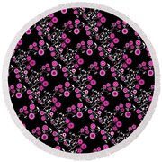 Pink Floral Explosion Round Beach Towel by Methune Hively