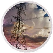 Storm Power Round Beach Towel by Bill Kesler
