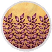 Abstract Plant With Pointy Leaves In Purple And Yellow Round Beach Towel
