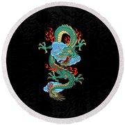 The Great Dragon Spirits - Turquoise Dragon On Black Silk Round Beach Towel by Serge Averbukh