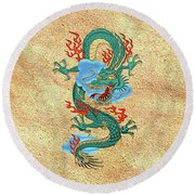 The Great Dragon Spirits - Turquoise Dragon On Rice Paper Round Beach Towel by Serge Averbukh