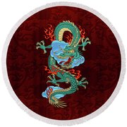 The Great Dragon Spirits - Turquoise Dragon On Red Silk Round Beach Towel by Serge Averbukh