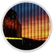 Up 6445 Sunset - The Slat Collection Round Beach Towel by Bill Kesler