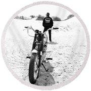Motorcycle Racing Team Round Beach Towel by Mark Rogan