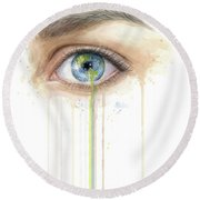 Earth In The Eye Crying Planet Round Beach Towel