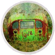 Love Bus Round Beach Towel