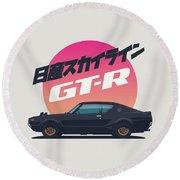 Nissan Skyline Gt-r C110 Side - Vert Black Round Beach Towel