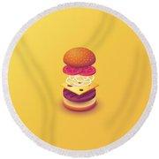 Burger Isometric Deconstructed - Yellow Round Beach Towel