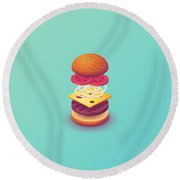 Burger Isometric Deconstructed - Mint Round Beach Towel