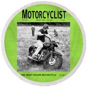 Motorcycle Magazine Great Escape Motorcycle Round Beach Towel by Mark Rogan