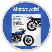 Motorcycle Magazine Kawasaki H2 1972 Round Beach Towel