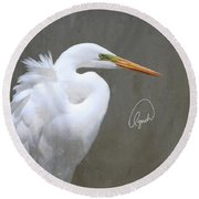 Portrait Of An Egret Signed Round Beach Towel