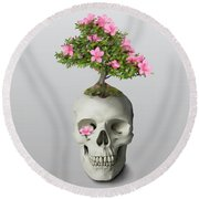Round Beach Towel featuring the painting Bonsai Skull by Ivana Westin