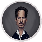 Celebrity Sunday - Johnny Depp Round Beach Towel