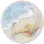 Round Beach Towel featuring the painting Dance Of The Sea - Australian Trumpet Shell Impressionstic by Audrey Jeanne Roberts