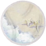 Round Beach Towel featuring the painting Dance Of The Sea - Knobby Starfish Impressionstic by Audrey Jeanne Roberts