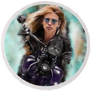 Steven Tyler On A Bike Round Beach Towel