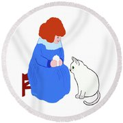 Round Beach Towel featuring the painting  Pussycat, Pussycat By Mother Goose by Marian Cates
