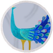 Pretty As A Peacock Round Beach Towel