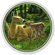 Whitetail Deer - First Spring Round Beach Towel by Crista Forest