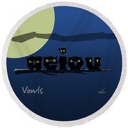 Vowls Round Beach Towel