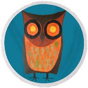 Give A Hoot Orange Owl Round Beach Towel