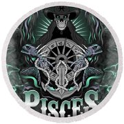 The Fish Pisces Spirit Round Beach Towel