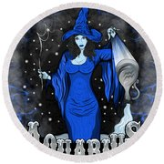 The Water Bearer Aquarius Spirit Round Beach Towel